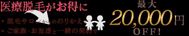 横浜マリアクリニックの医療脱毛が最大20,000円OFF
