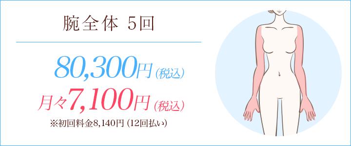 腕全体5回 78700円、月々7000円※初回料金78円(12回払い)