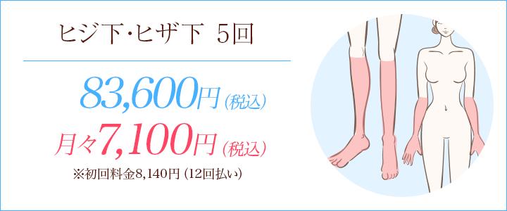 横浜マリアクリニックのヒジ下・ヒザ下脱毛5回