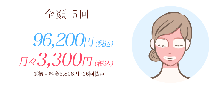 全顔5回 87500円、月々8700円※初回料金8923円(12回払い)