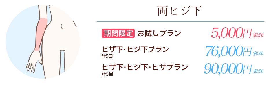 横浜マリアクリニックの両ヒジ下お試しプラン