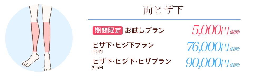 横浜マリアクリニックの両ヒザ下お試しプラン